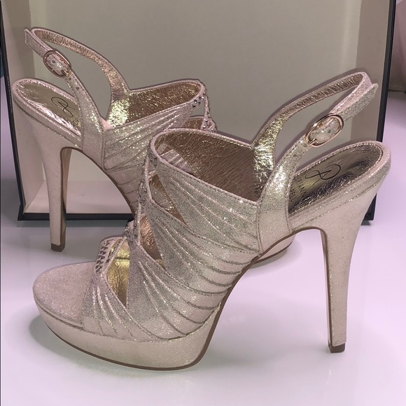 Adrianna Papell Shoes - Adrianna Papell open toe gold bedazzled 8.5 shoe